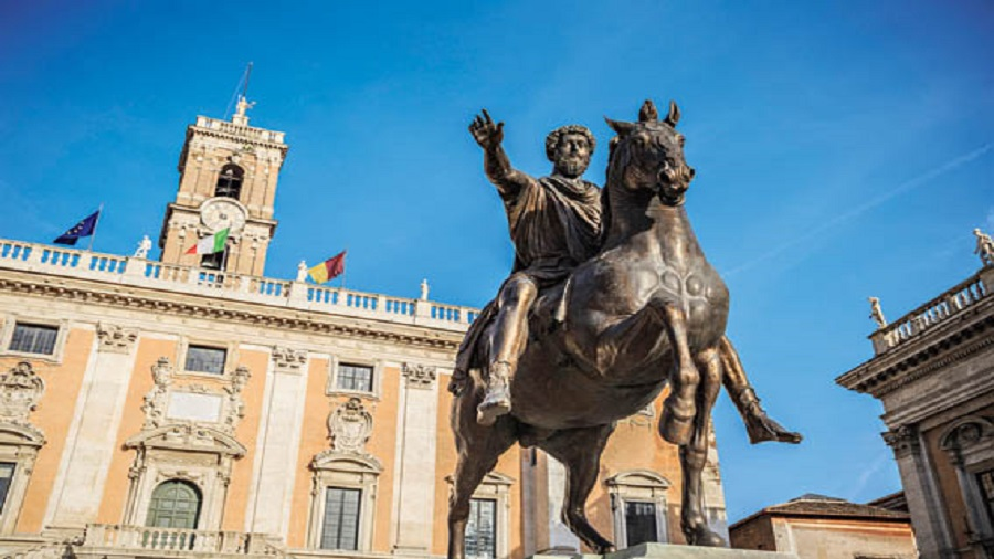 A file picture of an equestrian statue of Marcus Aurelius in Rome, the man who taught people to be calm and brave in the face of overwhelming anxiety and pain