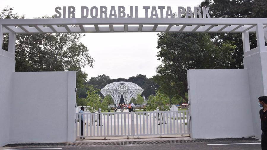 The renovated Sir Dorabji Tata Park with the diamond structure.