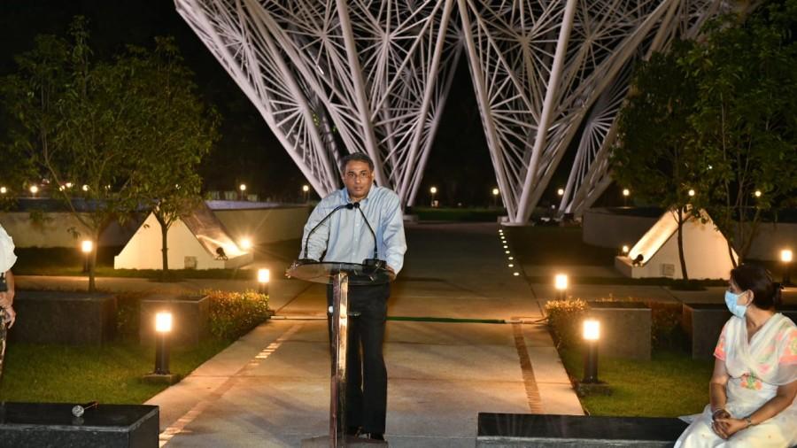 Tata Steel MD TV Narendran at the renovated Sir Dorabji Tata Park in Bistupur in Saturday.