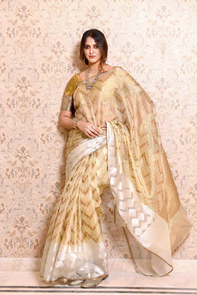 """1. This kora tissue sari is all about subtle elegance. """"How beautifully does gold and silver blend into each other,"""" said Mitali. """"It's got an antique gold look. Classy and great for a reception or a formal occasion,"""" said Avishek. The Omaago! saris are priced at Rs 1,800 onwards. """"We plan to give a discount code for your readers. Go to the e-commerce website (www.omaago.co.in) and just before checking out, you can type the code T220 and you get a 20 per cent discount on the entire range,"""" said Avishek."""