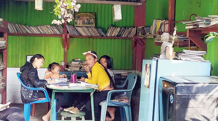 Children enjoy spending time at the Book Thief Open Library, Nagri Farm, around 34km from Darjeeling