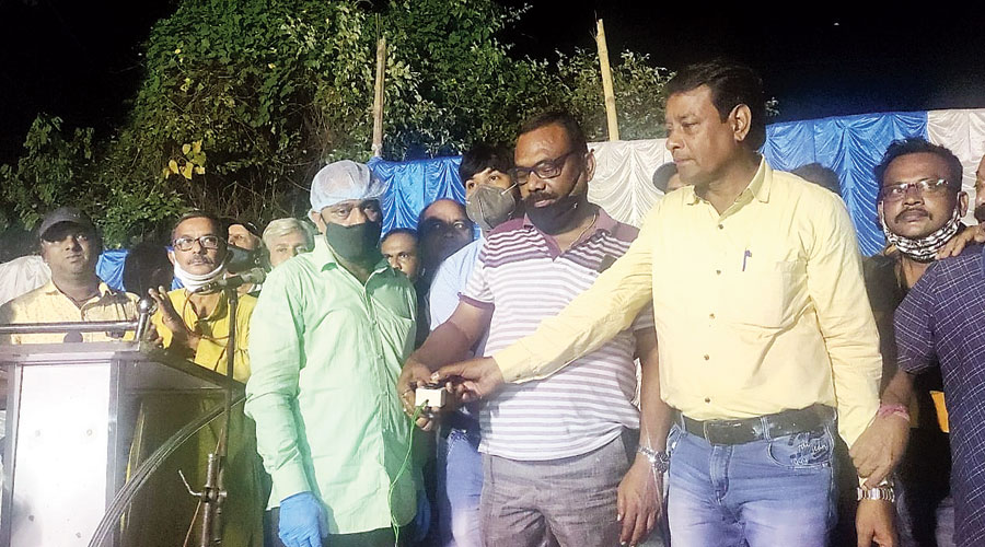 Kulti MLA Ujjwal Chatterjee inaugurates the same project an hour later on Saturday