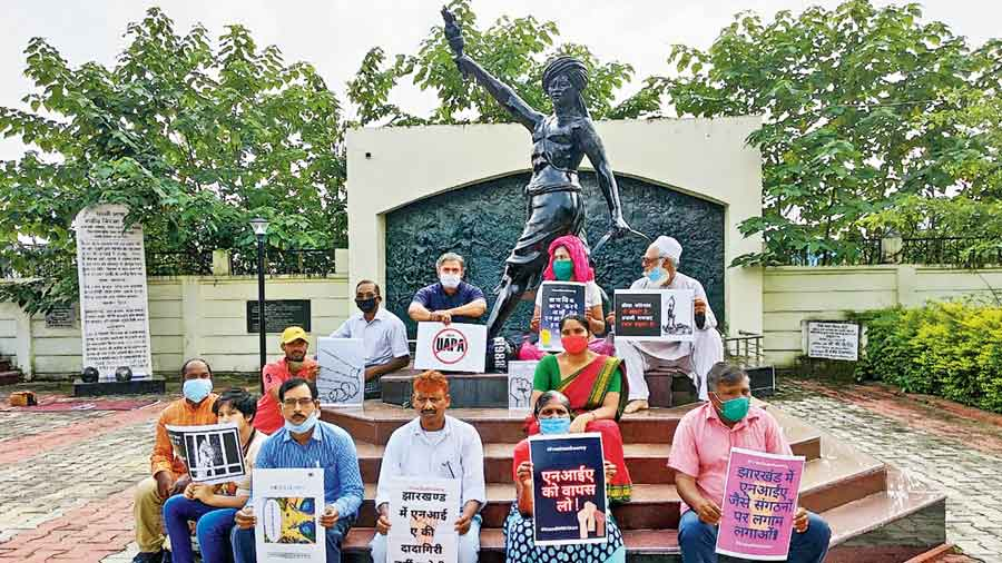 Several penal organizations, activists, intellectuals and concerned citizens from Jharkhand protest against the arrest of Stan Swamy by the National Investigation Agency (NIA) at Birsa Munda Samadhi in Ranchi on Monday