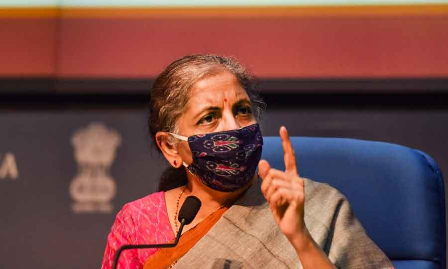Union Finance Minister Nirmala Sitharaman addresses a press conference in New Delhi on Monday