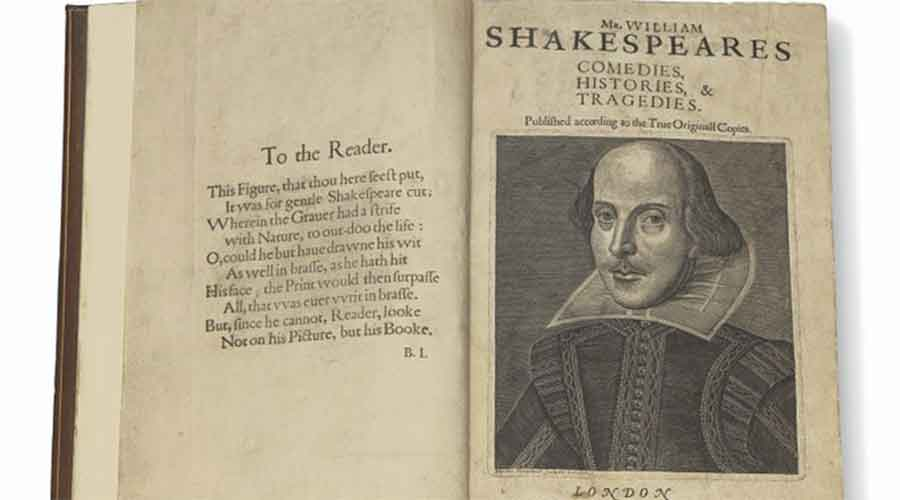 A 1623 rare first folio of 36 Shakespeare works that was sold for a record $9.97 million in New York on Wednesday.