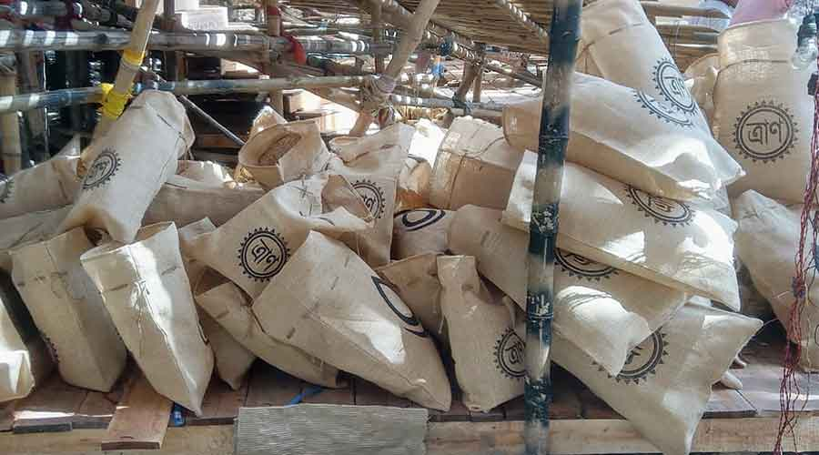 Jute sacks at the pandal.  The sacks were used in  a series of donation drives the club had undertaken during the lockdown to  give ration to poor families
