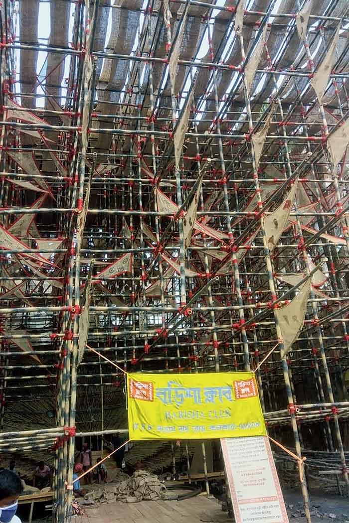 The Barisha Club Durga Puja pandal, being built with bamboo poles and jute sacks