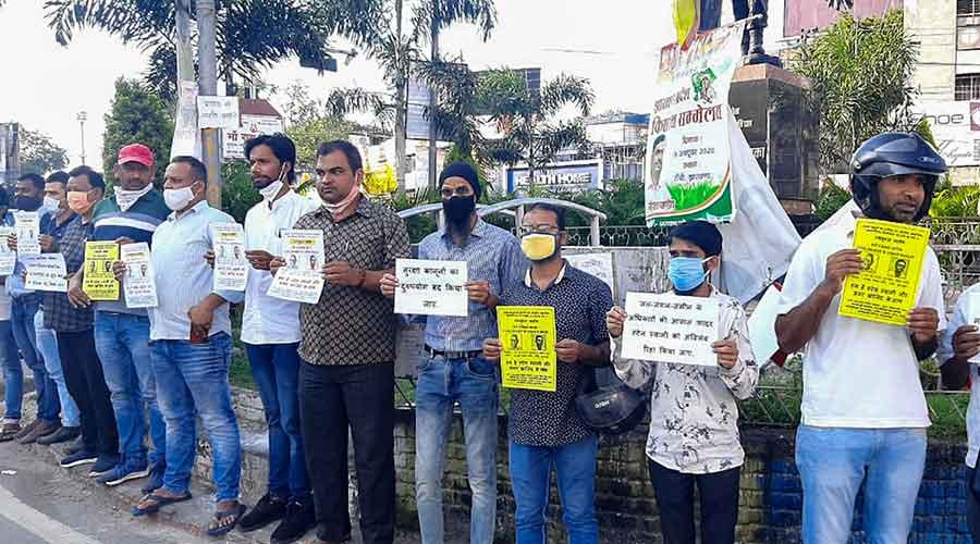 Demonstrators demanding Father Stan Swamy's release on Wednesday.