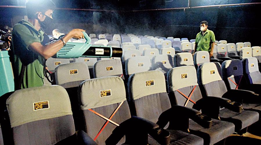 Priya Cinema being sanitised on Thursday.