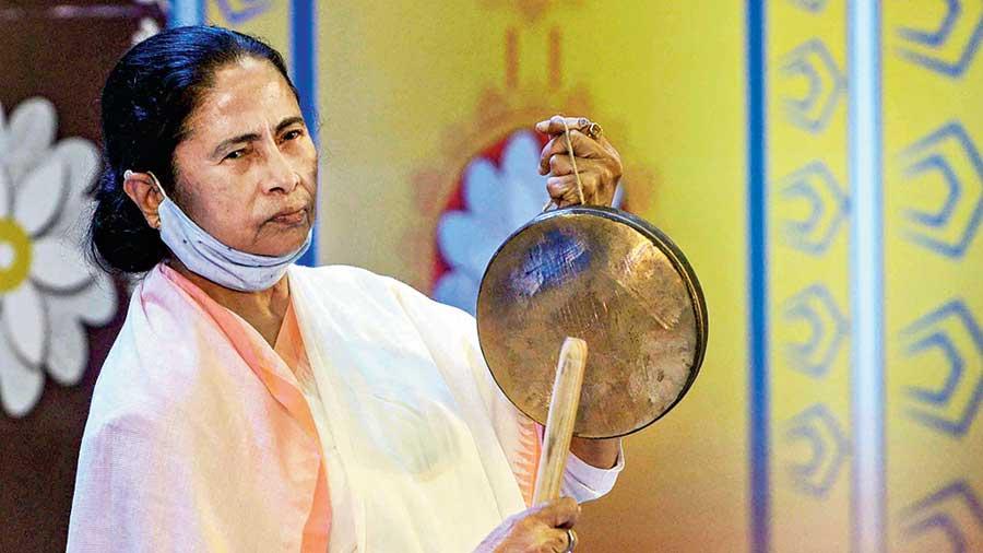 Mamata Banerjee virtually inaugurates different community puja pandals at Nabanna in Calcutta on Thursday.