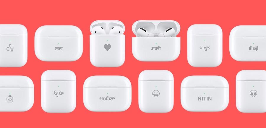 Personalised engravings on Apple AirPods