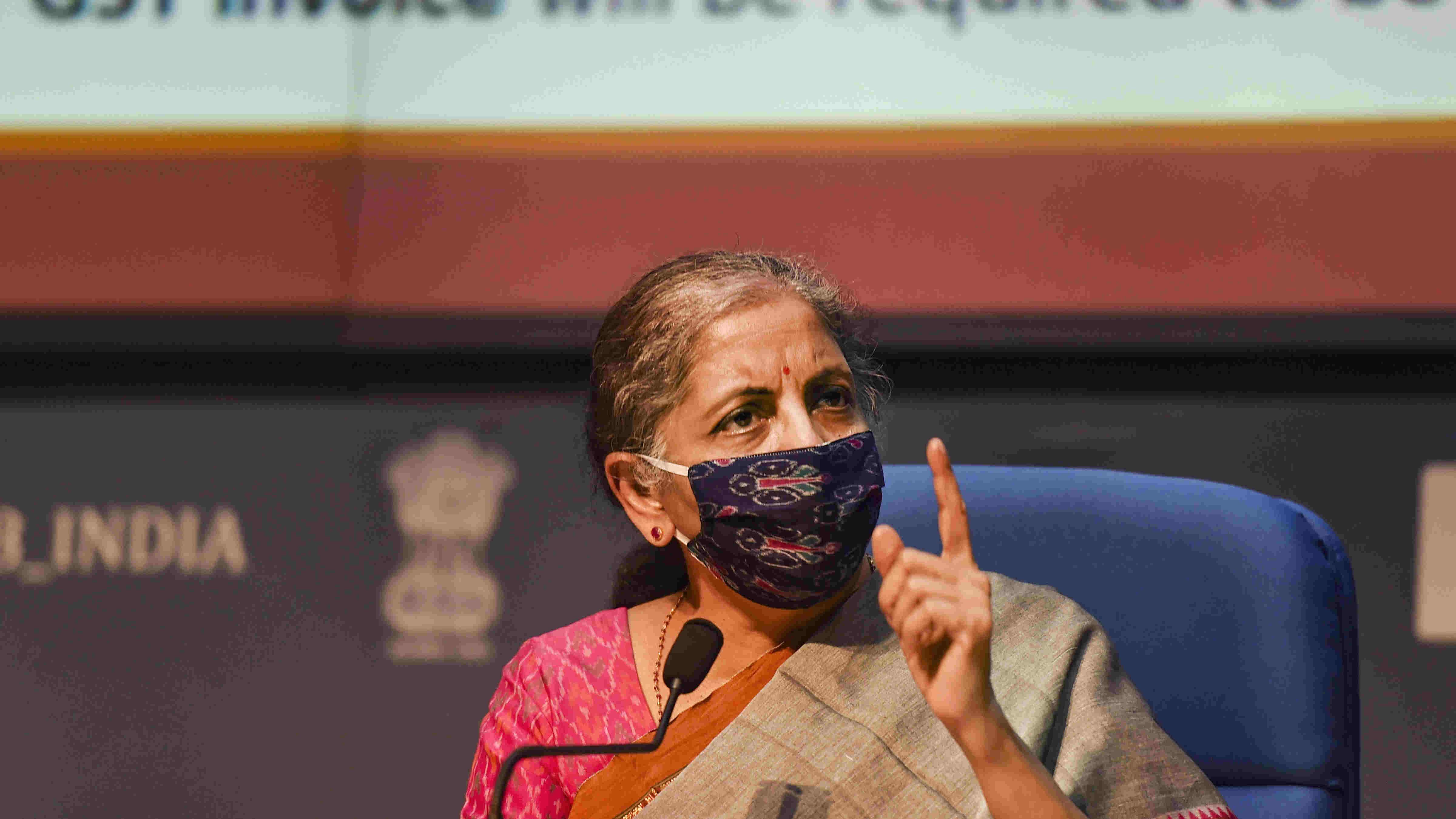 Union Finance Minister Nirmala Sitharaman addresses a press conference, in New Delhi, Monday, Oct. 12, 2020.