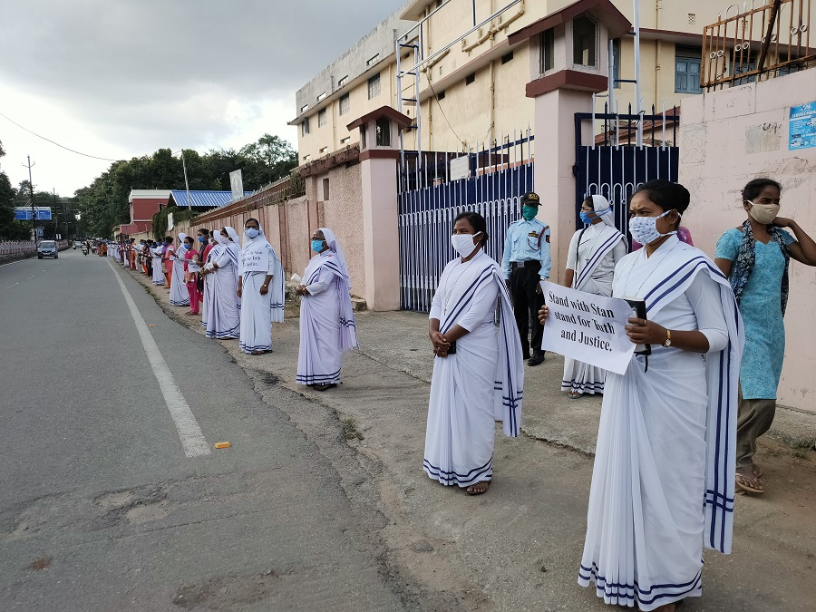 Nuns join the human chain at Purulia Road in Ranchi on Friday