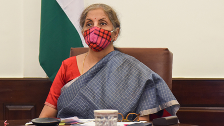 Finance Minister Nirmala Sitharaman attends World Bank Development Committee meeting via video conferencing, in New Delhi, Friday, Oct. 16, 2020.