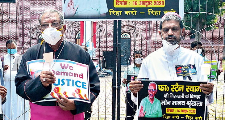 More than 5,000 people formed a 4km human chain in Ranchi on Friday to express solidarity with octogenarian Jesuit priest and tribal rights activist Father Stan Swamy, arrested and jailed in Mumbai for alleged Maoist links.  Ranchi Archbishop Felix Toppo (left) and auxiliary Bishop of Ranchi Archdiocese Theodore Mascarenhas (right) were among those who joined the human chain.