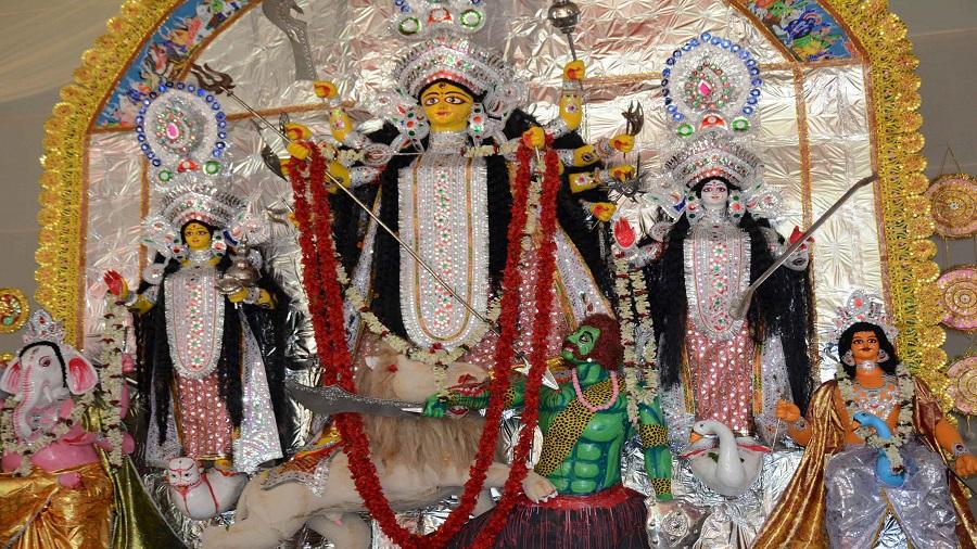 A Durga idol in Jamshedpur during Pujas