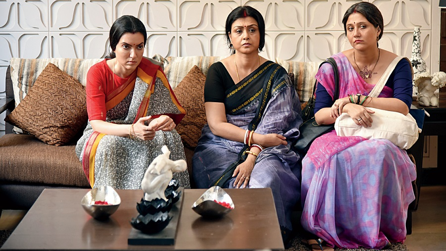 Arpita, Debjani and Swastika in Guldasta, which releases on October 21 in the theatres