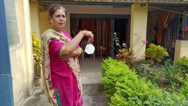 Gayetri Devi at her residence on Dhalbhum Road in Sakchi on Sunday.