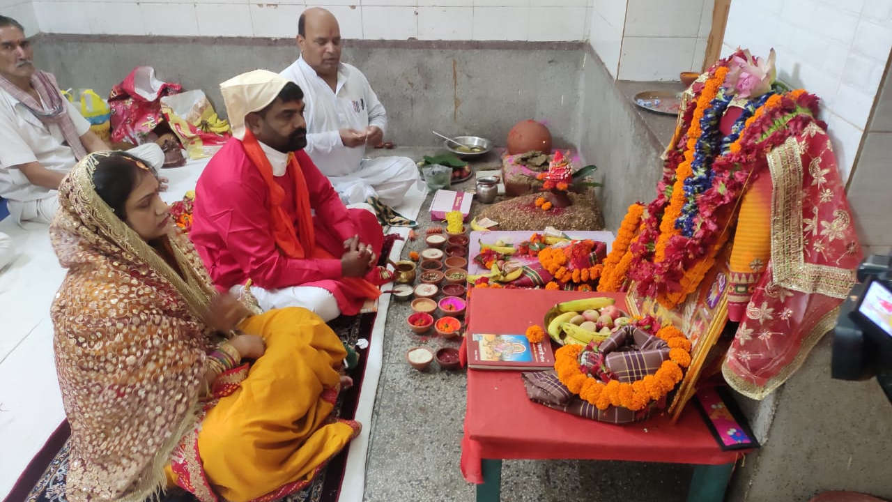 Puja organisers during kalas sthapana on Saturday marking day one of Navratra.