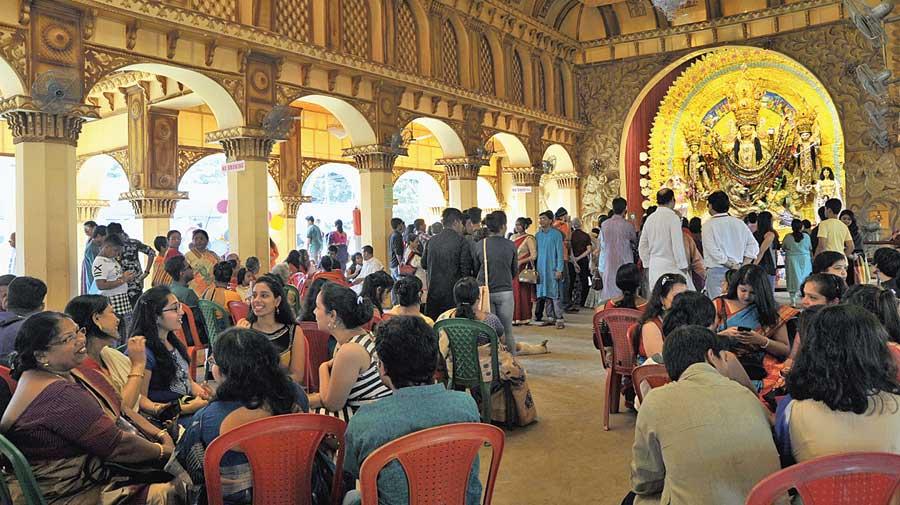 No adda at Maddox Square Durga Puja