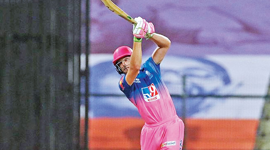 Man of the Match Jos Buttler during his unbeaten 48-ball 70 against Chennai Super Kings in Abu Dhabi on Monday.