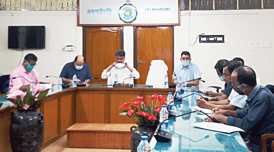 "The ""Cha Sundari"" meeting in progress at the Jalpaiguri district magistrate's office on Monday."