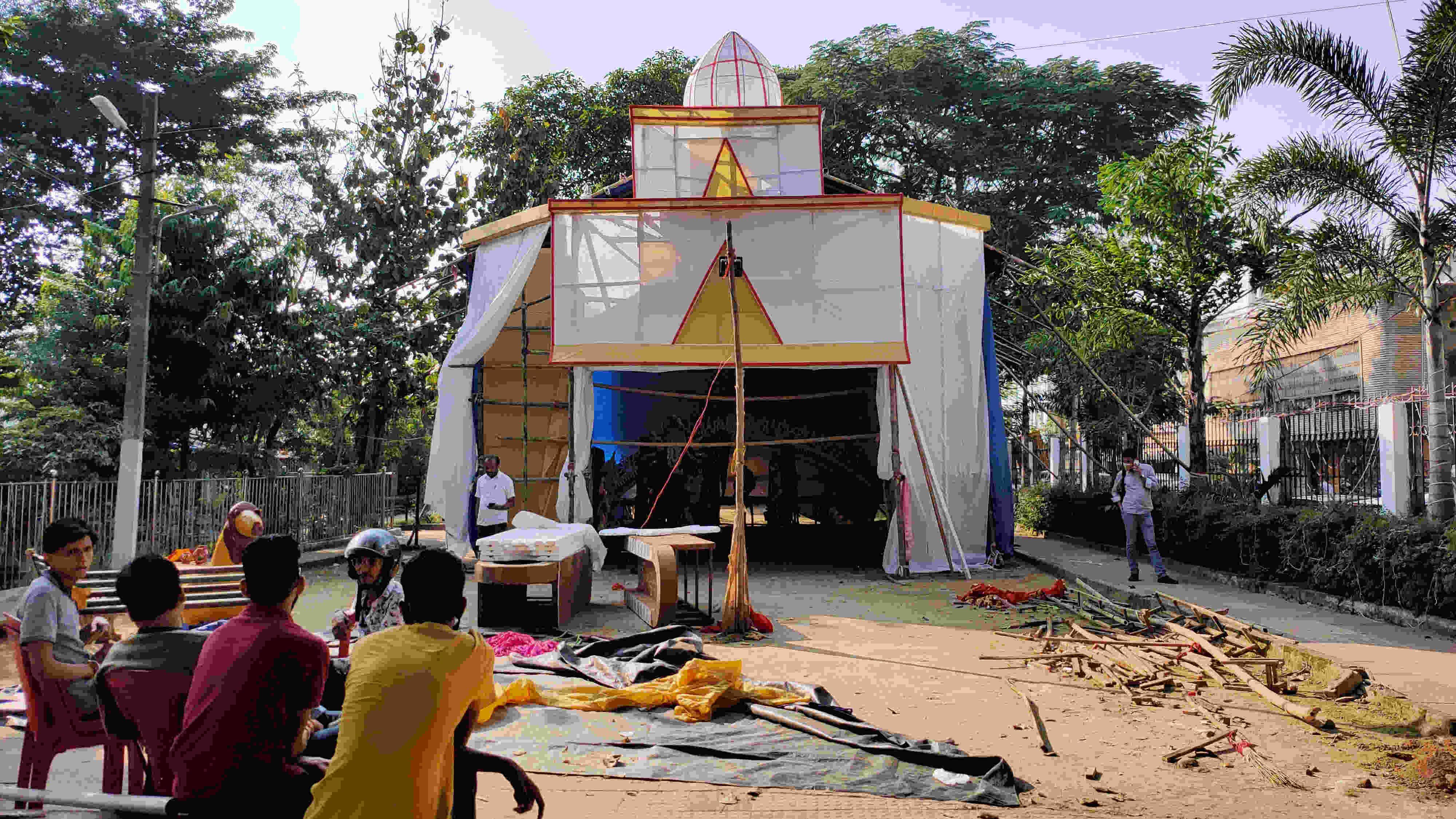 The  Rajasthan Mitra Mandal Durga Puja Samiti pandal at Upper Bazar in Ranchi on Tuesday.