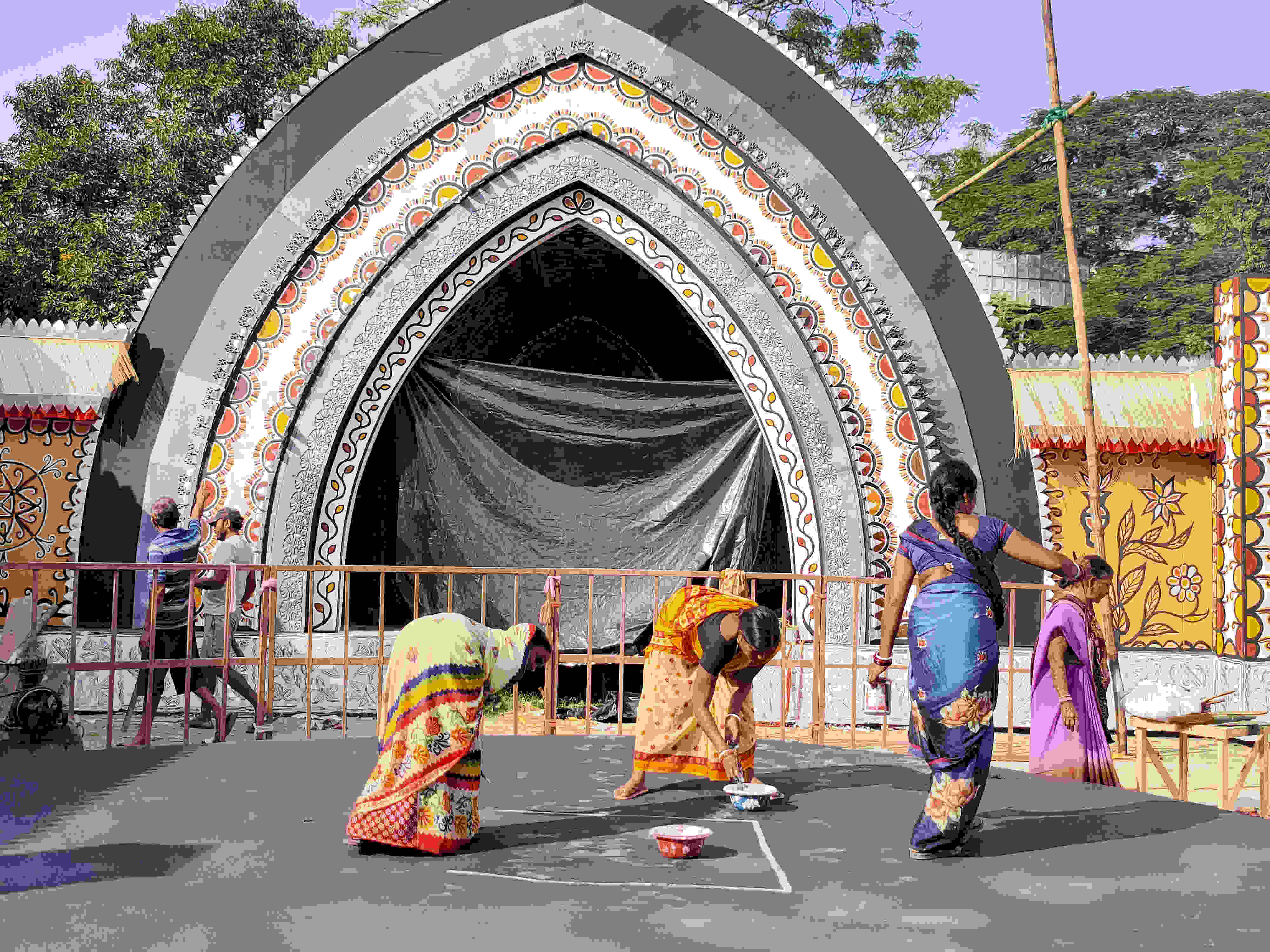 The Station Road Durga Puja Samiti pandal in Ranchi on Tuesday.