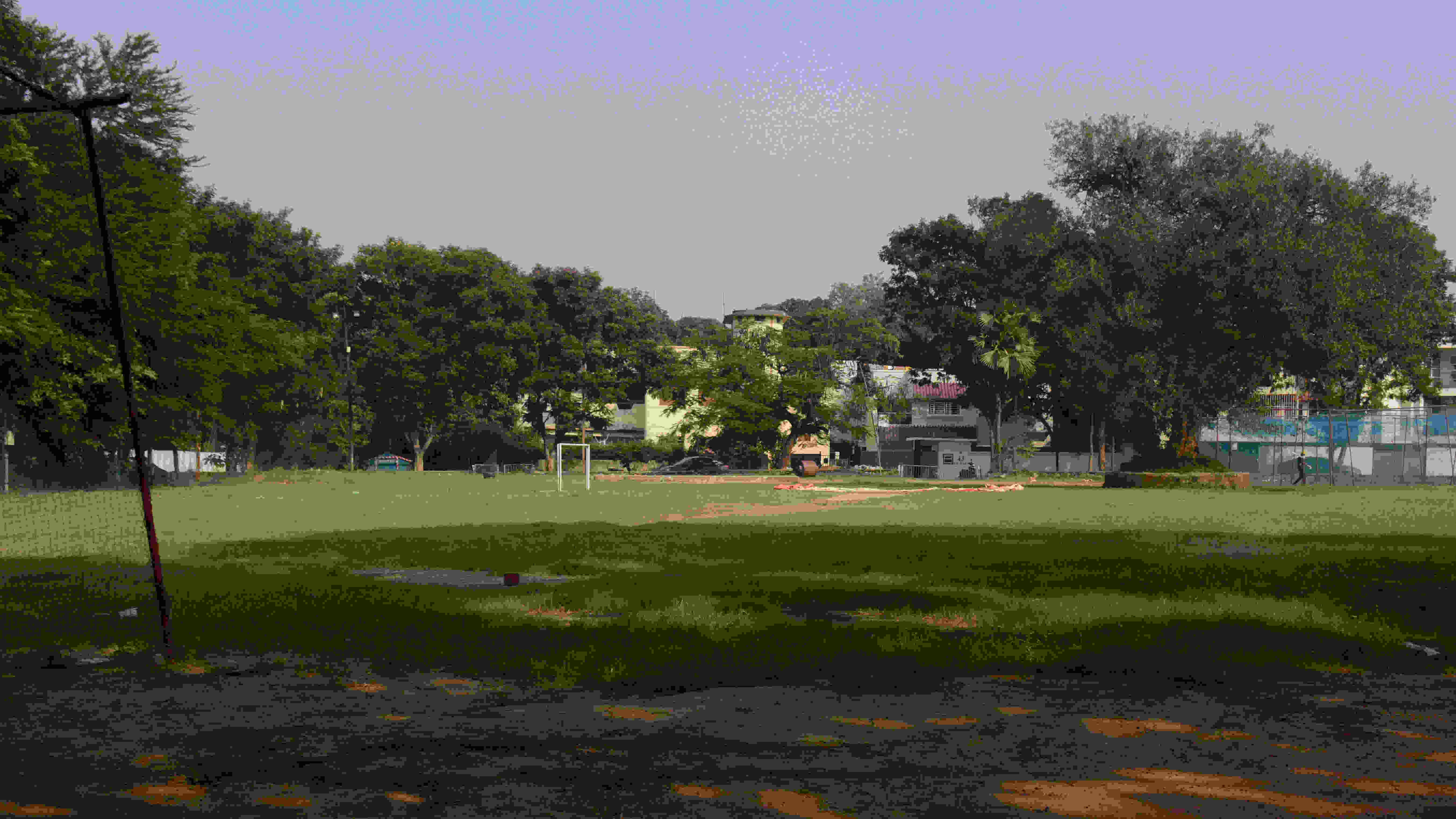 The ground at Jamshedpur's Circuit House Area is deserted as there will be no Durga Puja this year.