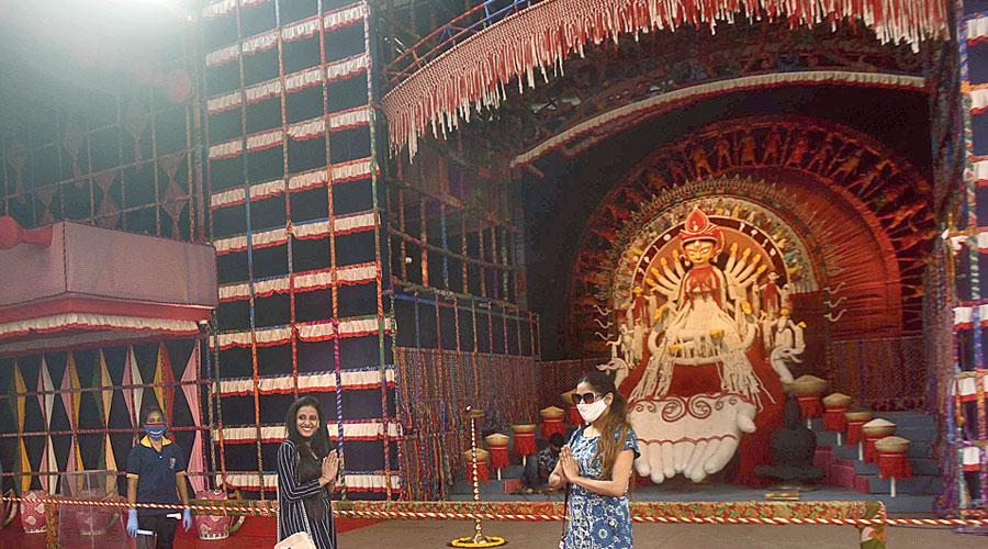 Devotees at Suruchi Sangha Durga Puja at New Alipore  in Calcutta on Tuesday.
