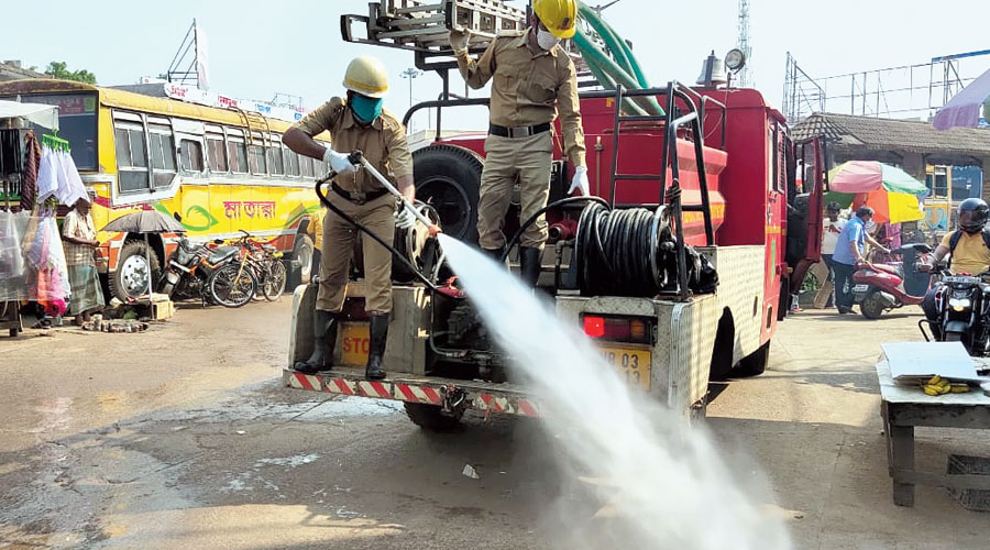 A sanitisation drive in progress in Birbhum district's Suri on Tuesday