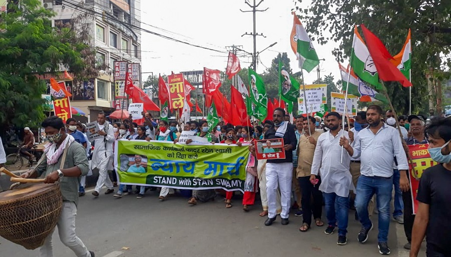 People's organisations and supporters of Left parties held a 'Nyay March' in Ranchi earlier this month to demand the immediate release of Stan Swamy and other political prisoners.