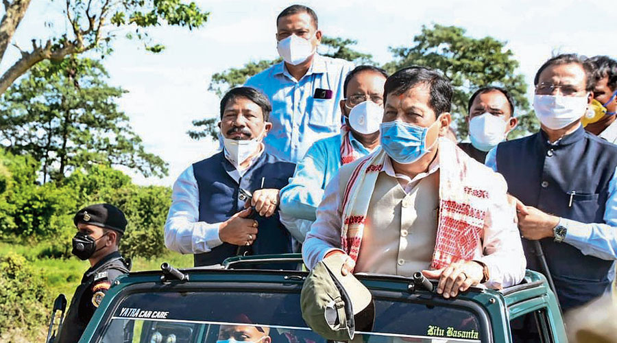 Chief minister Sarbananda Sonowal during a jeep safari after reopening the park.