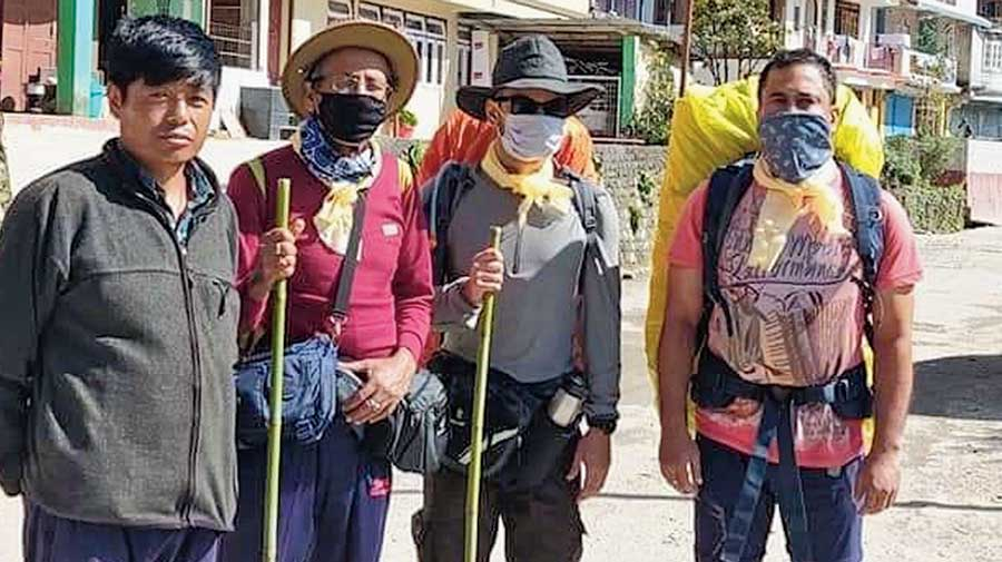 Trekkers from Calcutta in West Sikkim on Wednesday.
