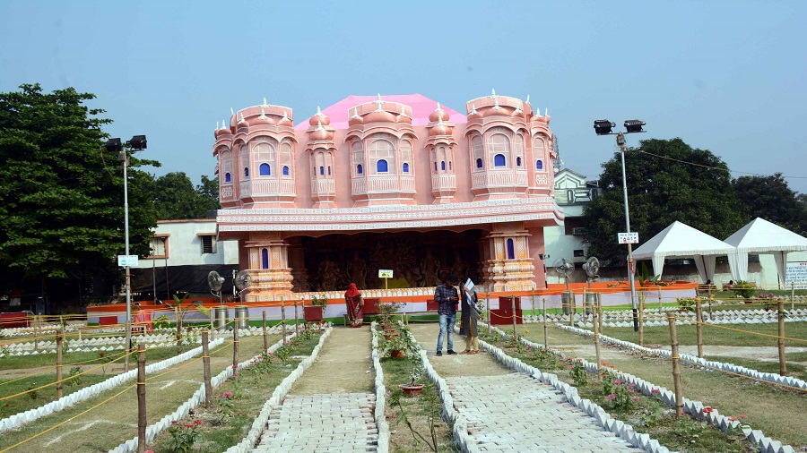 The Durga Puja pandal at Jairam Youth Sporting Club at Adityapur on Thursday