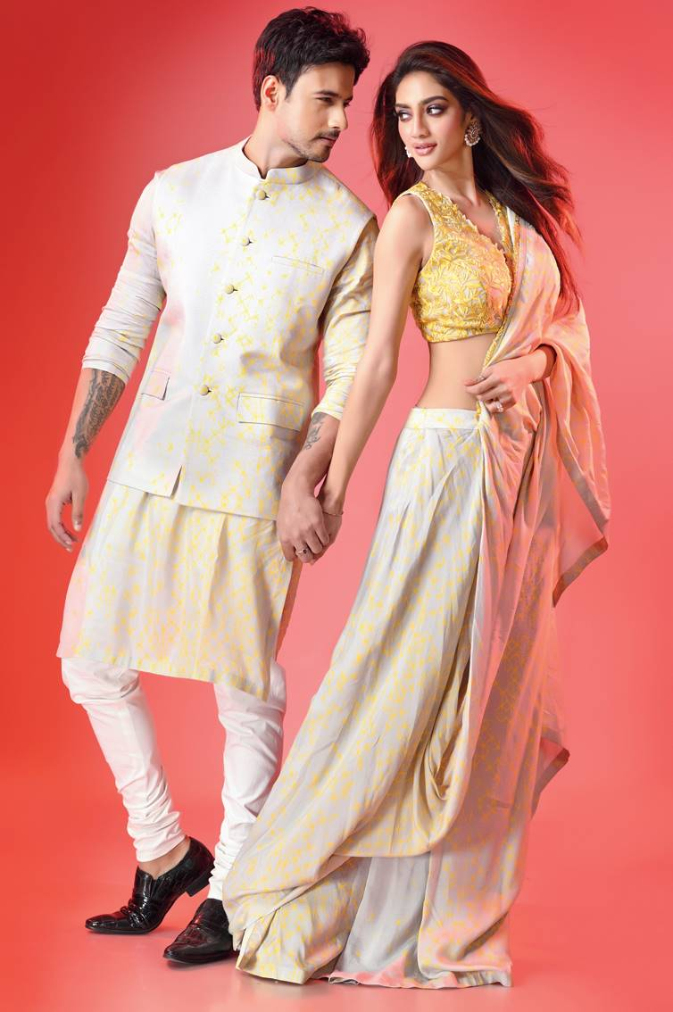 """3. Yash and Nusrat were a striking pair in blue. """"I have lost a lot of weight recently and I always prefer clothes that are well-fitted. I taper everything, even my tees,"""" said Yash. Nusrat loved the choli. """"This look is both desi and contemporary,"""" she said. Nusrat is game for twinning and often tries it with husband Nikhil Jain. """"It's nice to twin. Very Instagramable!"""" she laughed. (Outfits: Dev R Nil; Jewellery: Amrapali Jaipur (1st Floor, Forum Courtyard Mall; Yash's shoes: Rohan Arora)"""
