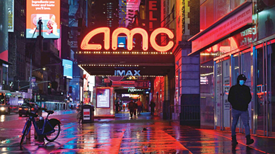 The closed AMC theatre in Times Square. The spectre of empty movie houses was haunting Hollywood well before the pandemic.