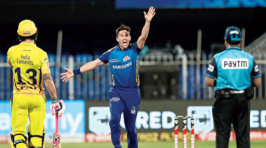 Man of the Match Trent Boult during Mumbai Indians' game against Chennai Super Kings in Sharjah on Friday.
