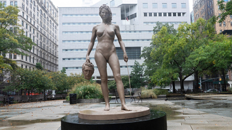 A statue was unveiled in New York close to the New York County Criminal Court — a statue of the Greek goddess, Medusa, symbolizing the MeToo movement.