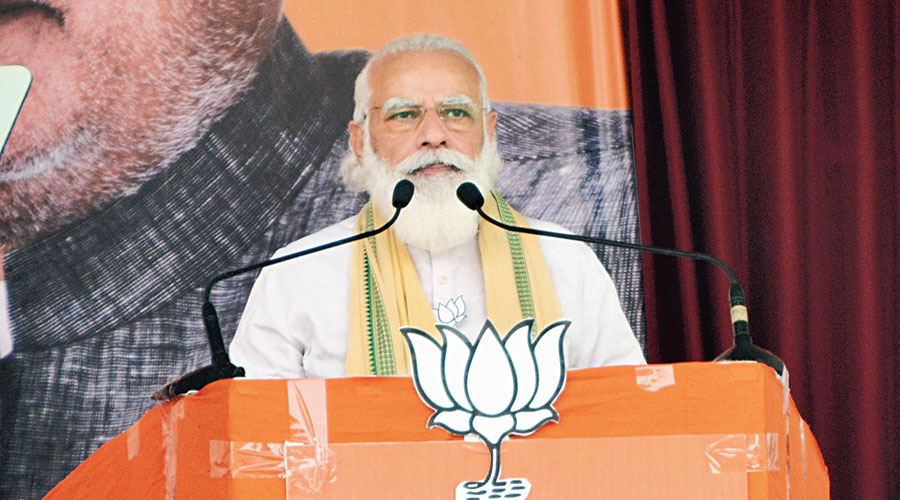 Modi at the rally in Rohtas  on Friday.