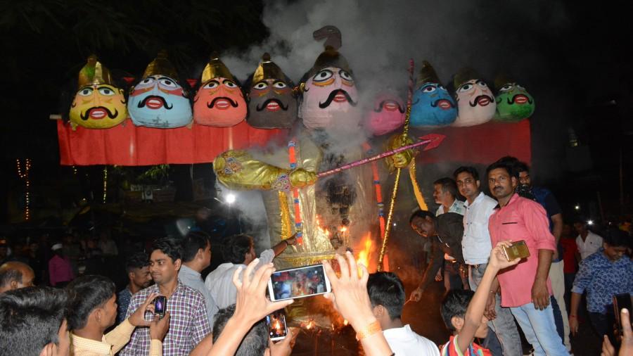 The demon king's effigy is up in flames during last year's Ravan Dahan on Dussehra at Ramleela Ground in Sakchi.