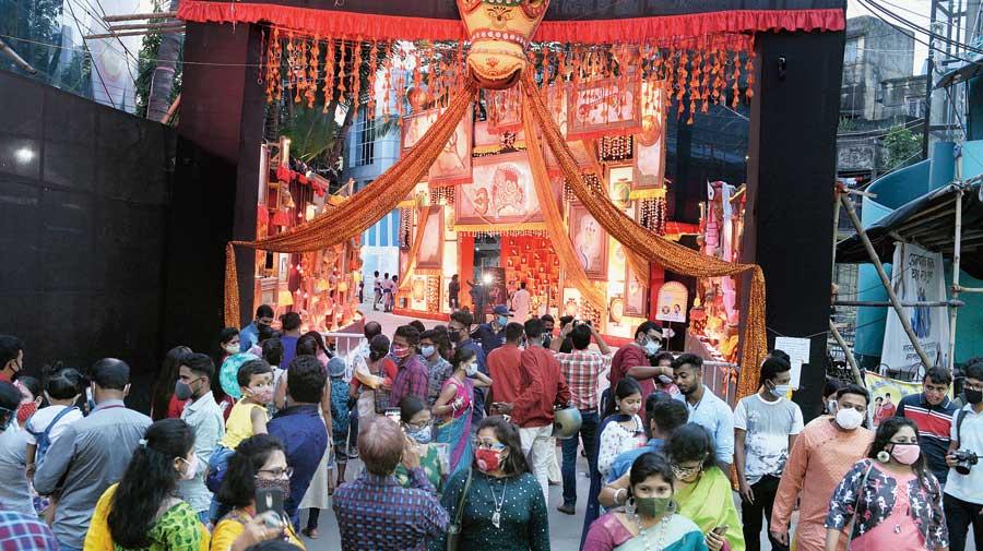 Tridhara Sammilani, near Deshapriya Park on Saturday evening.