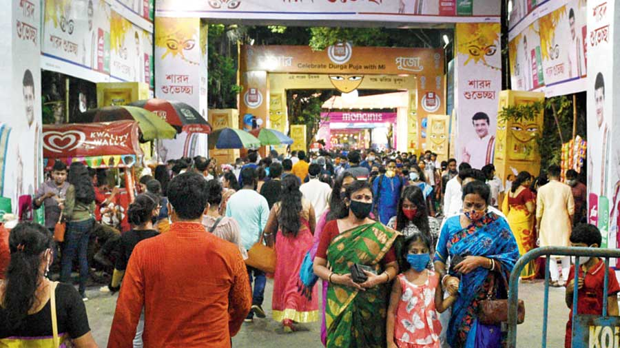 The road leading to the Ballygunge Cultural Association puja pandal on Saturday evening.