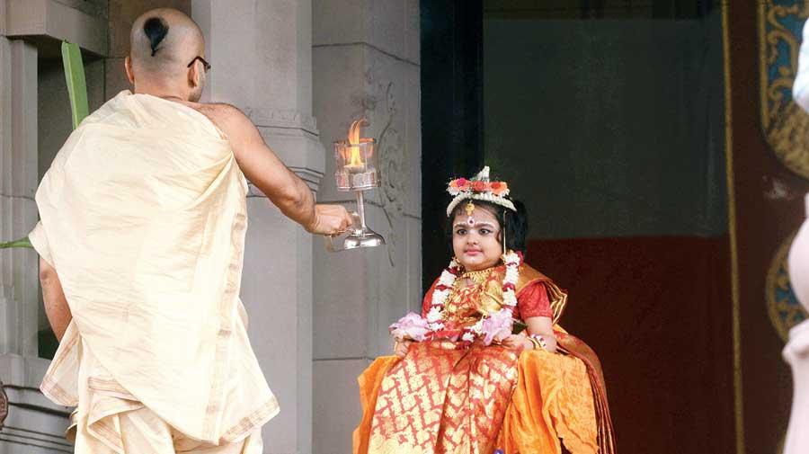 Kumari Puja at Belur Math on Ashtami morning.