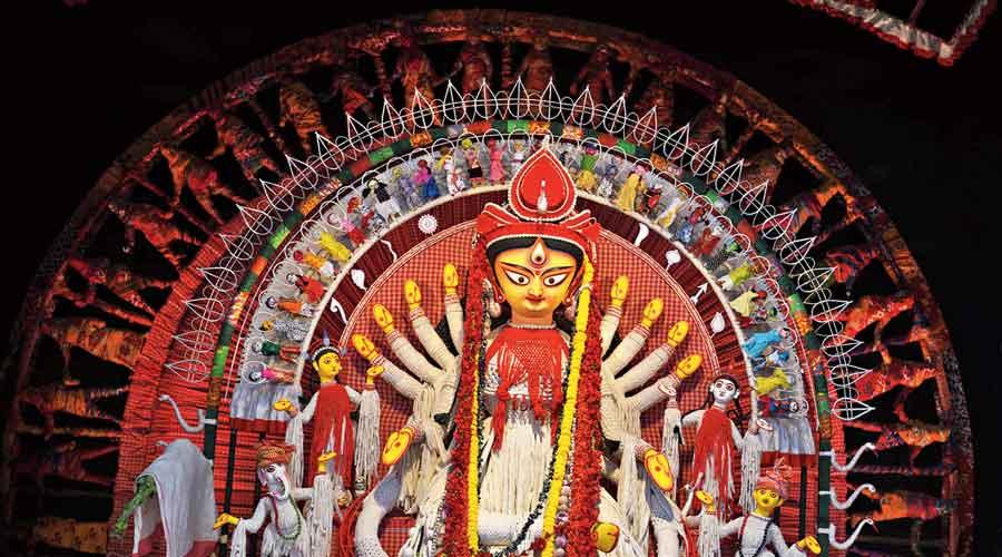 The Durga idol at Suruchi Sangha at New Alipore, Calcutta, on Ashtami.