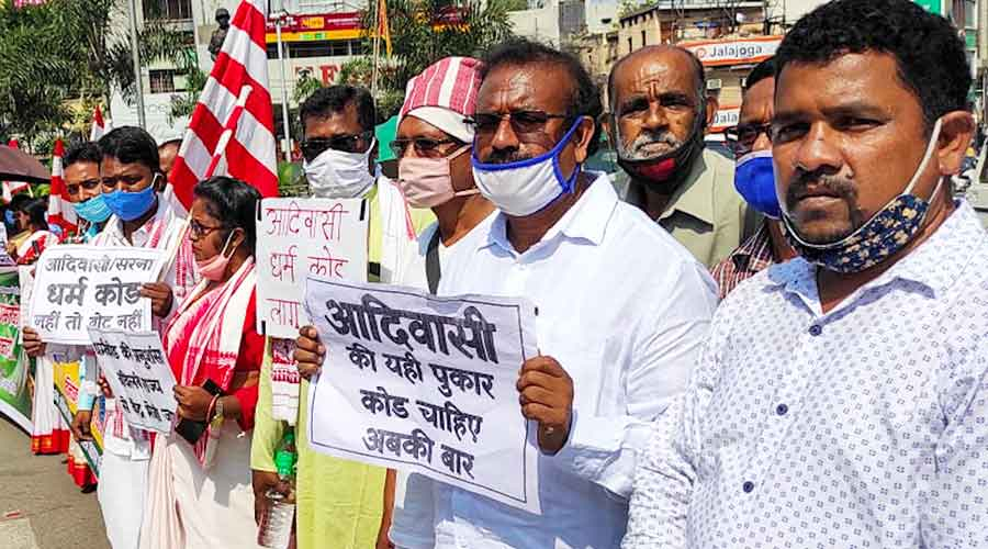 Tribals form a human chain at Albert Ekka Chowk in Ranchi last week in support of their demand for a separate Sarna code.