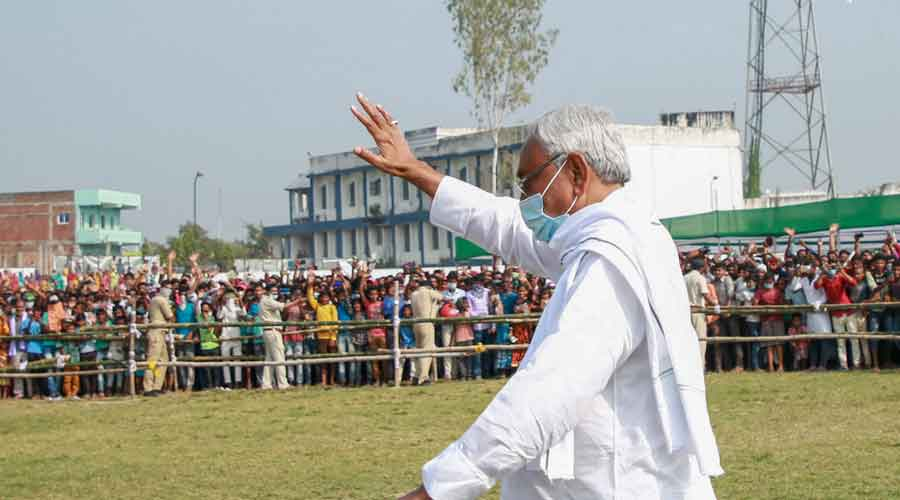 Chief minister Nitish Kumar during an election meeting in Darbhanga district on Sunday
