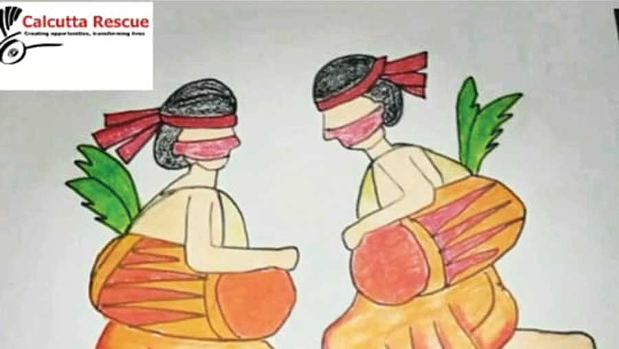 A visual from the video made by girls of Calcutta Rescue