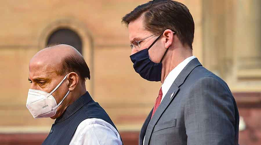 Defence Minister Rajnath Singh with US Secretary of Defence Mark Esper (R) at South Block in New Delhi, Monday, October 26, 2020.