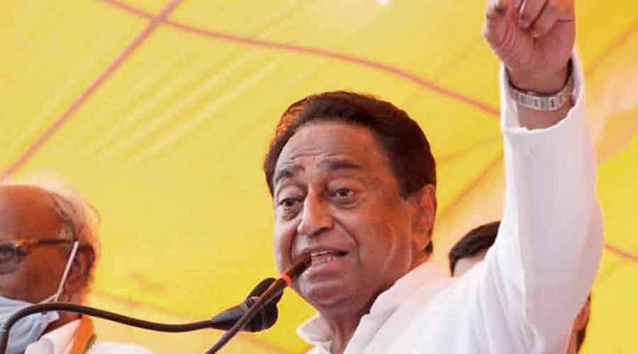 Former Chief Minister and Madhya Pradesh Congress President Kamal Nath addresses an election campaign meeting in Badnawar constituency ahead of assembly bypolls, Tuesday, October 20, 2020.